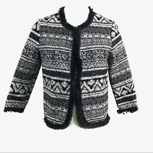 Glamorous Black & White Knit Open Front Blazer 10